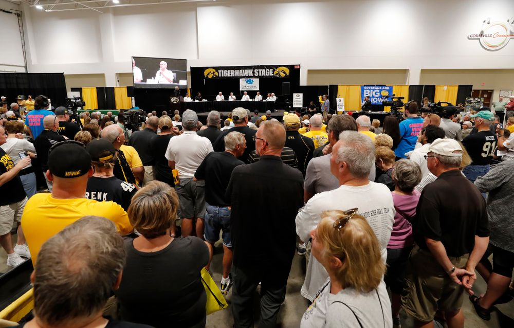 The 1983 Hawkeye Football Coaching Staff at Fry Fest Friday, August 31, 2018 in Coralville. (Brian Ray/hawkeyesports.com)