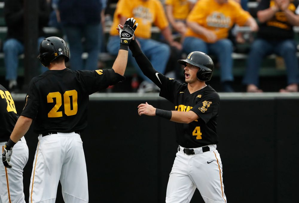 Iowa Hawkeyes infielder Mitchell Boe (4) against the Penn State Nittany Lions Friday, May 18, 2018 at Duane Banks Field. (Brian Ray/hawkeyesports.com)
