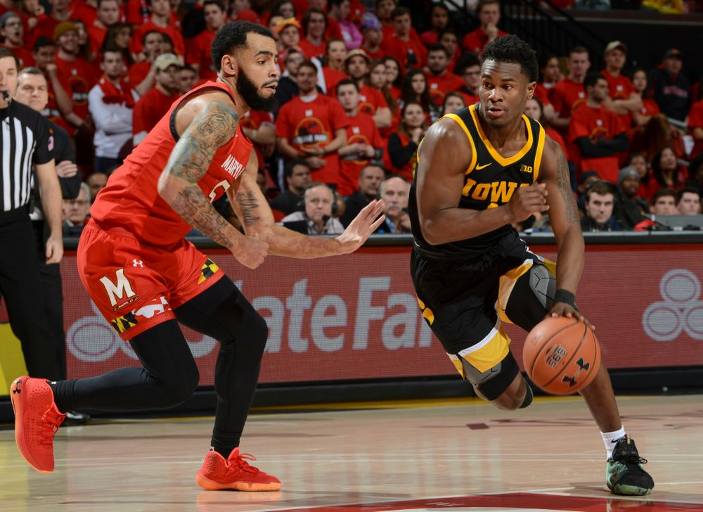 Iowa Hawkeyes guard Joe Toussaint (1) drives with the ball during their game at the Xfinity Center in College Park, MD on Thursday, January 30, 2020. (University of Maryland Athletics)