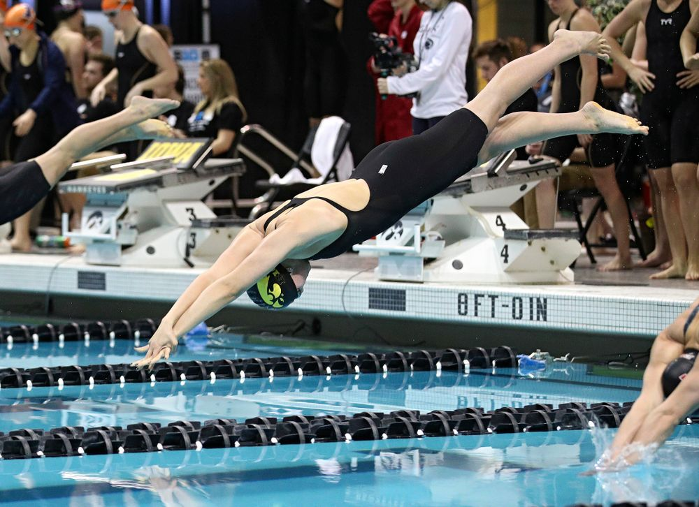 Iowa's Hannah Burvill swims in the women's 200 yard freestyle relay event during the 2020 Women's Big Ten Swimming and Diving Championships at the Campus Recreation and Wellness Center in Iowa City on Friday, February 21, 2020. (Stephen Mally/hawkeyesports.com)