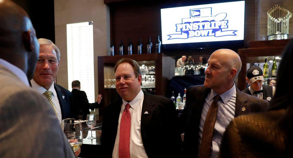 Kirk Ferentz, Mark Holtzman, Steve Addazio -- President's Welcome Reception at Yankees Steakhouse