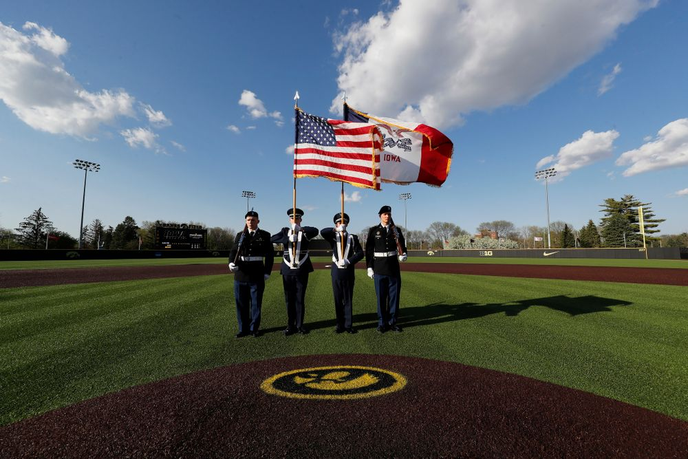 Military Appreciation Night before the Iowa Hawkeyes game against Oklahoma State Friday, May 4, 2018 at Duane Banks Field. (Brian Ray/hawkeyesports.com)