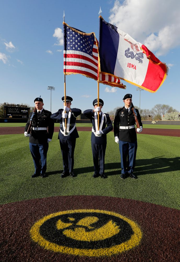 The color guard before the Iowa Hawkeyes game against Oklahoma State Friday, May 4, 2018 at Duane Banks Field. (Brian Ray/hawkeyesports.com)