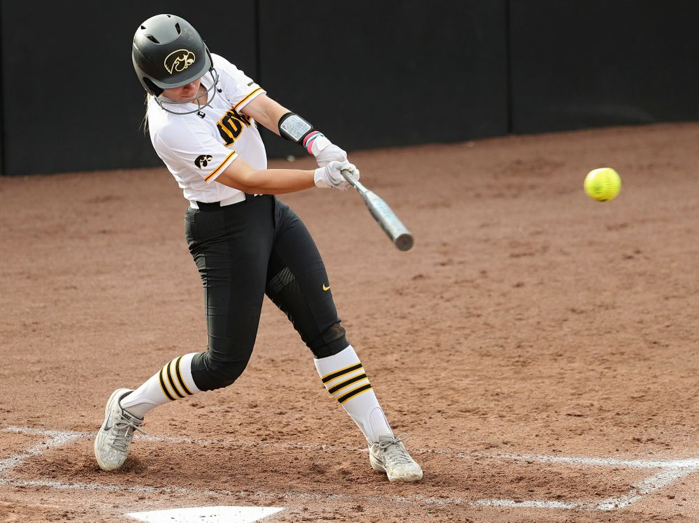 Iowa third baseman Sydney Owens (5) gets a hit during the second inning of their game against Ohio State at Pearl Field in Iowa City on Friday, May. 3, 2019. (Stephen Mally/hawkeyesports.com)