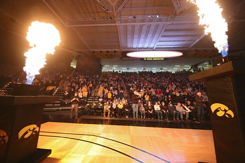 Fans cheer before the start of their game at Carver-Hawkeye Arena in Iowa City on Sunday, January 12, 2020. (Stephen Mally/hawkeyesports.com)
