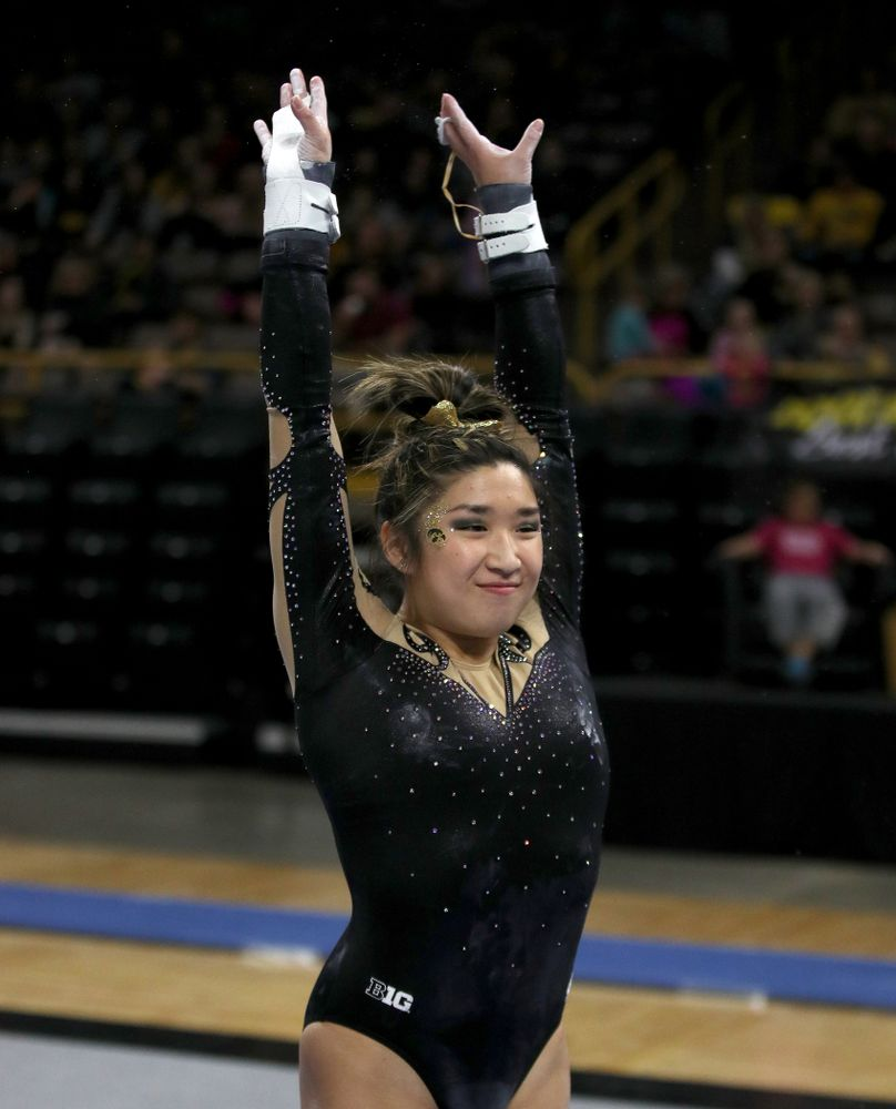 Iowa's Nicole Chow competes on the bars during their meet against Southeast Missouri State Friday, January 11, 2019 at Carver-Hawkeye Arena. (Brian Ray/hawkeyesports.com)