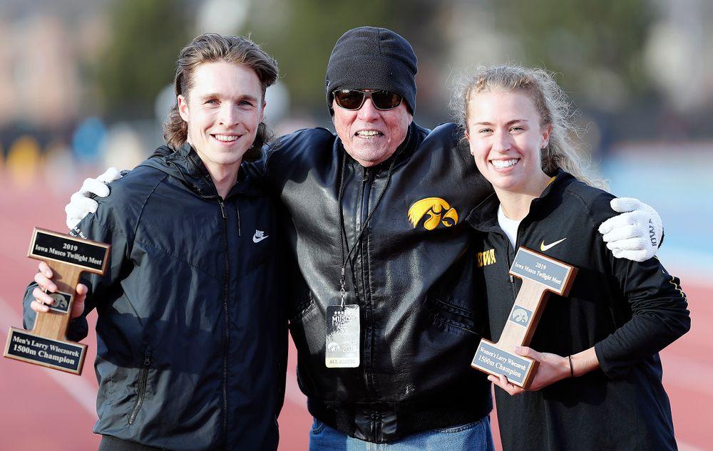 Winners of the Larry Wieczorek 1,500-meter run: Nathan Mylenek, Larry Wieczorek, Megan Schott