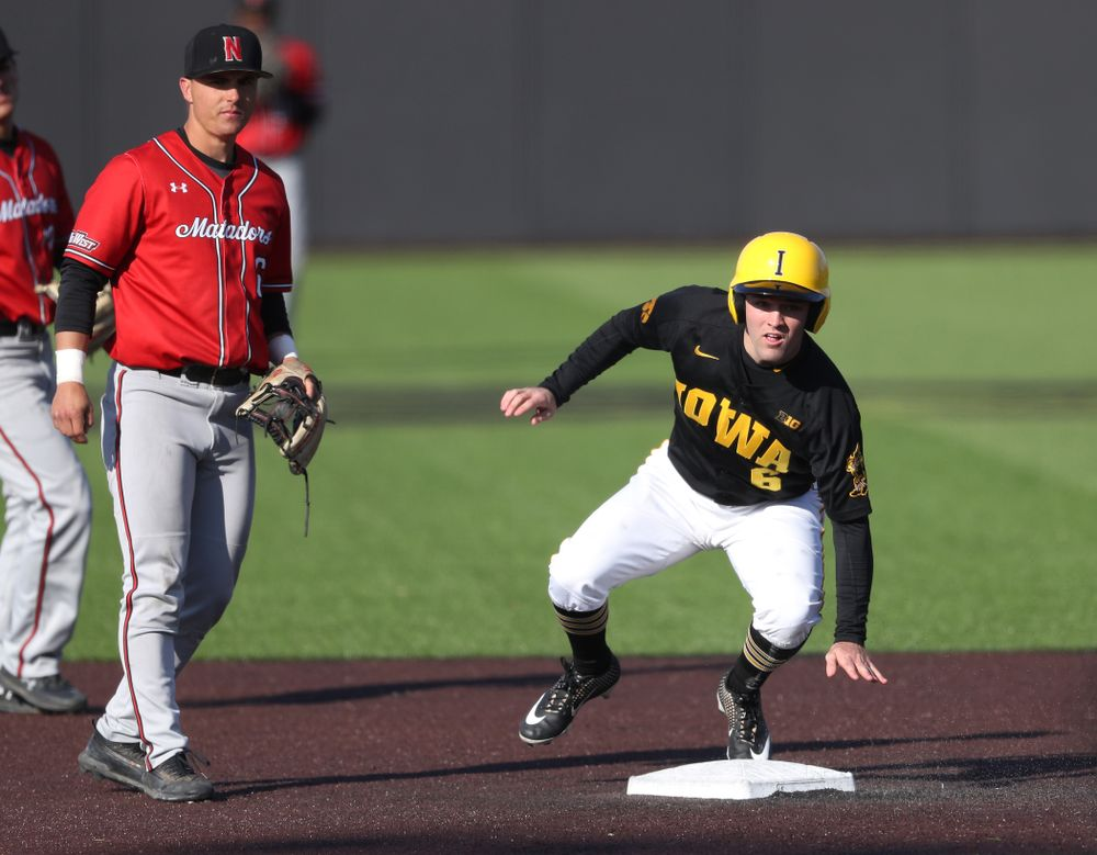 Iowa Hawkeyes outfielder Justin Jenkins (6) against California State Northridge Sunday, March 17, 2019 at Duane Banks Field. (Brian Ray/hawkeyesports.com)