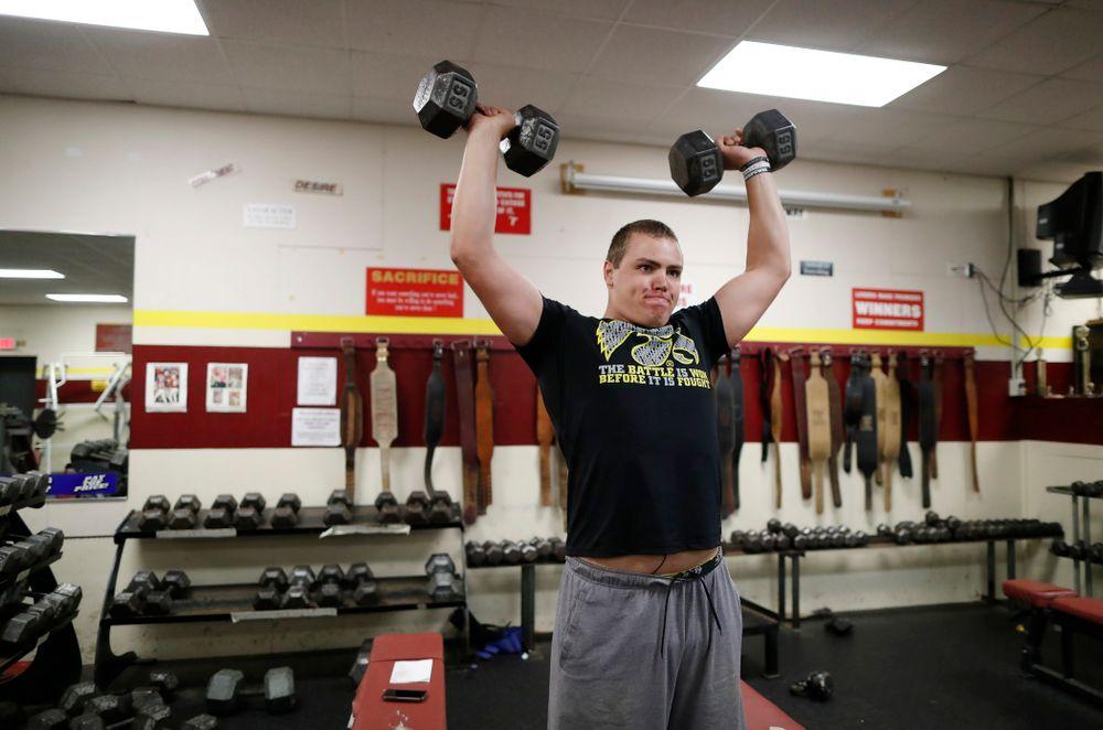 Iowa Hawkeyes quarterback Nathan Stanley (4) works out at his high school Wednesday, May 30, 2018 in Menomonie, Wisc. (Brian Ray/hawkeyesports.com)
