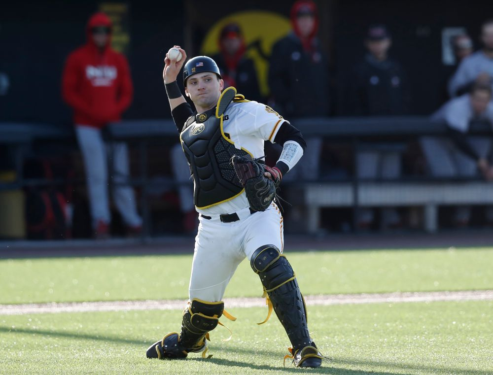 Iowa Hawkeyes catcher Brett McCleary (32) against Northern Illinois Tuesday, April 17, 2018 at Duane Banks Field. (Brian Ray/hawkeyesports.com)