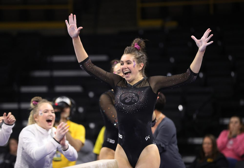 Iowa's Bridget Killian competes on the beam against the Minnesota Golden Gophers Saturday, January 19, 2019 at Carver-Hawkeye Arena. (Brian Ray/hawkeyesports.com)