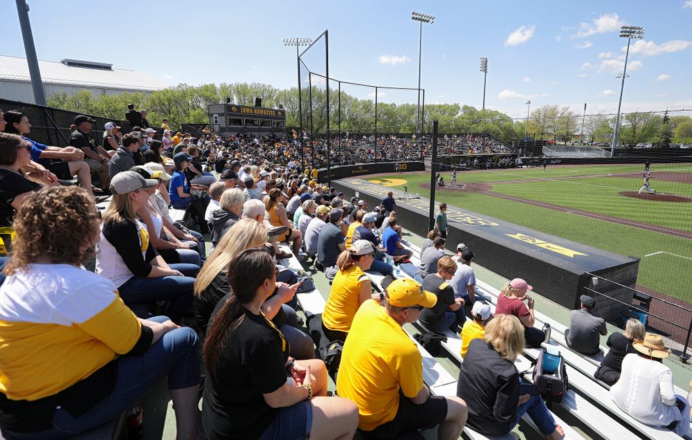 Fans look on during the fourth inning of their game against UC Irvine at Duane Banks Field in Iowa City on Sunday, May. 5, 2019. (Stephen Mally/hawkeyesports.com)