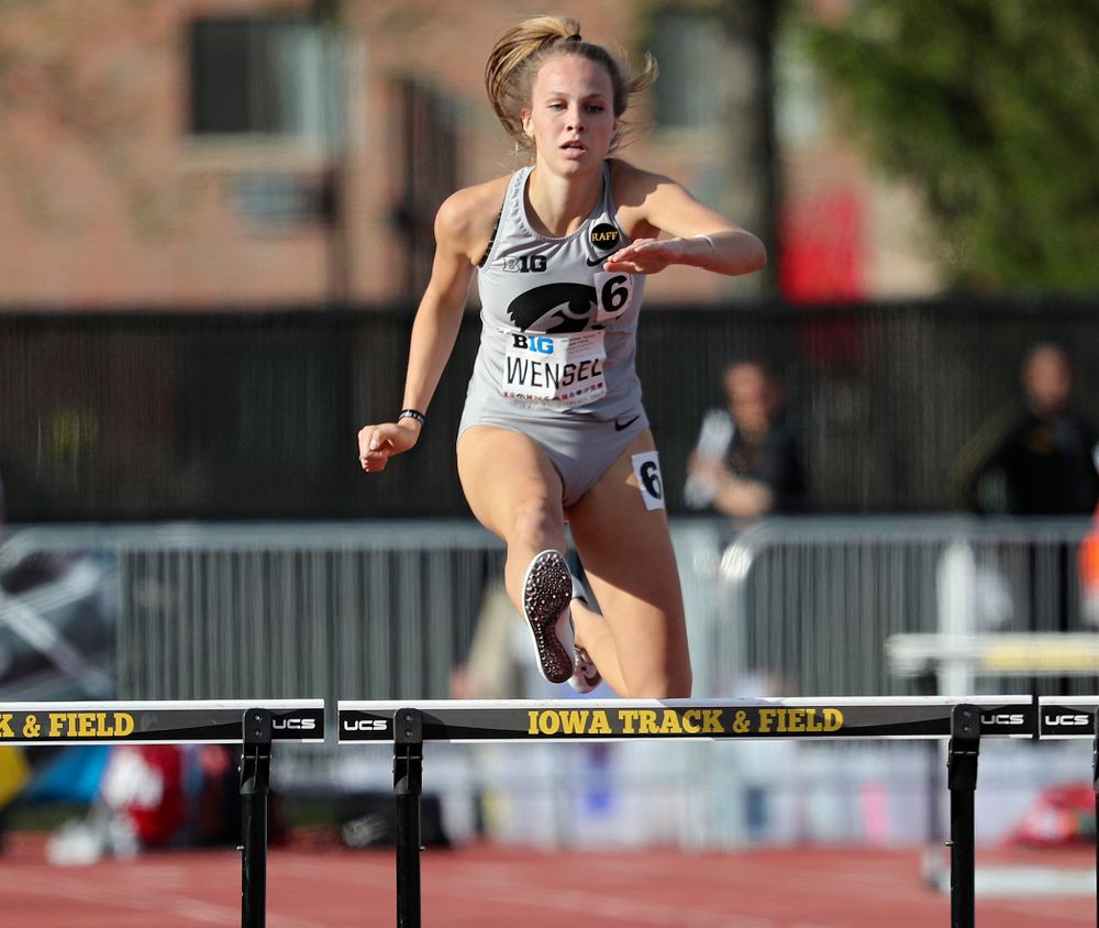 Iowa's Payton Wensel runs the women's 400 meter hurdles event on the first day of the Big Ten Outdoor Track and Field Championships at Francis X. Cretzmeyer Track in Iowa City on Friday, May. 10, 2019. (Stephen Mally/hawkeyesports.com)