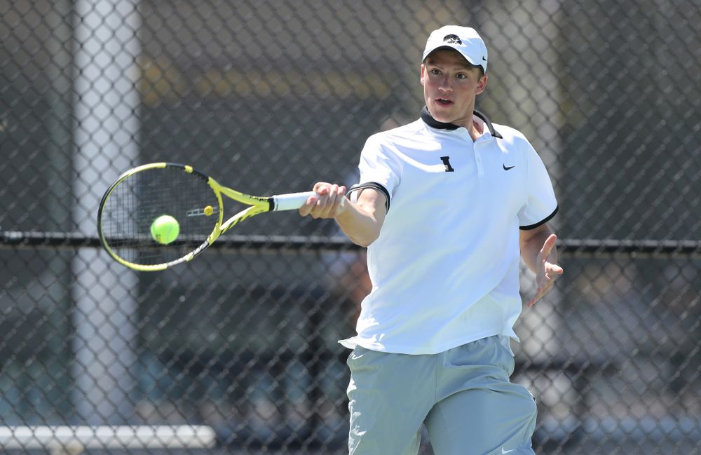IowaÕs Joe Tyler against the Michigan Wolverines Sunday, April 21, 2019 at the Hawkeye Tennis and Recreation Complex. (Brian Ray/hawkeyesports.com)