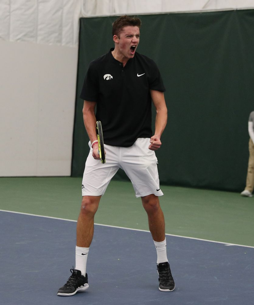 Joe Tyler against Utah Sunday, February 10, 2019 at the Hawkeye Tennis and Recreation Complex. (Brian Ray/hawkeyesports.com)
