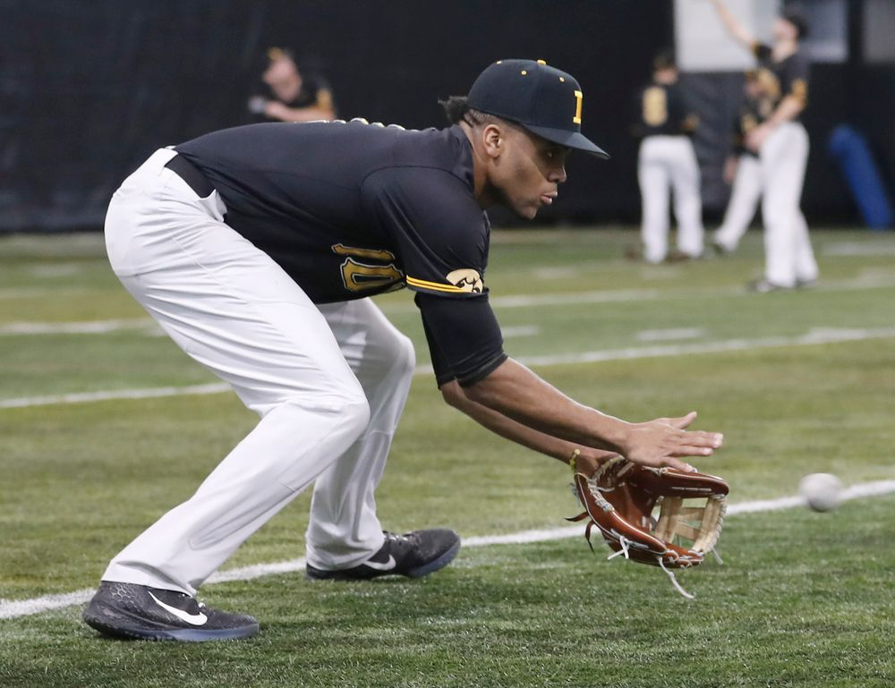 Lorenzo Elion at first baseball practice on Jan. 25, 2019. (Darren Miller/hawkeyesports.com)