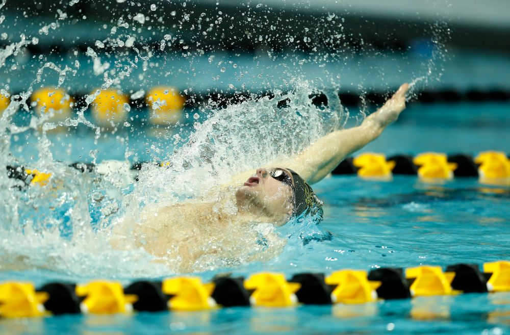 Saturday, January 13, 2018 (Brian Ray/hawkeyesports.com)Iowa's Kenneth Mende swims the backstroke leg of the 200 yard medley relay