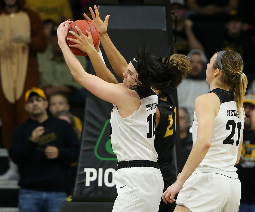 Iowa Hawkeyes center Megan Gustafson (10) pulls in a rebound during the fourth quarter of their second round game in the 2019 NCAA Women's Basketball Tournament at Carver Hawkeye Arena in Iowa City on Sunday, Mar. 24, 2019. (Stephen Mally for hawkeyesports.com)