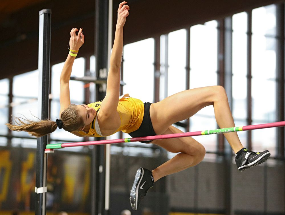 Iowa's Maria Gorham competes in the women's high jump event during the Jimmy Grant Invitational at the Recreation Building in Iowa City on Saturday, December 14, 2019. (Stephen Mally/hawkeyesports.com)