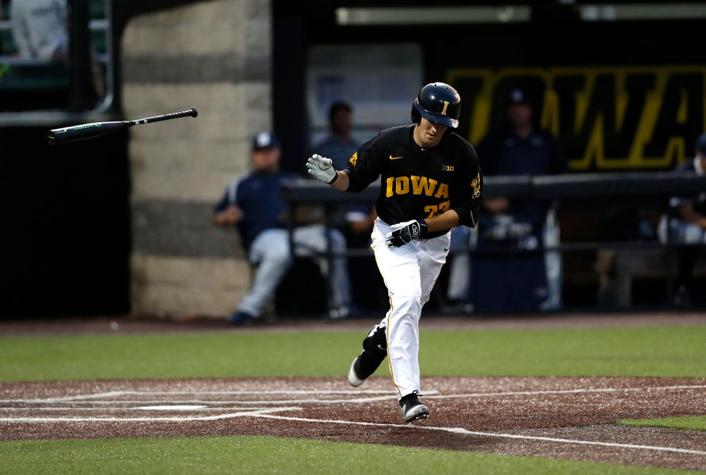 Iowa Hawkeyes infielder Kyle Crowl (23) draws a walk against the Penn State Nittany Lions Friday, May 18, 2018 at Duane Banks Field. (Brian Ray/hawkeyesports.com)