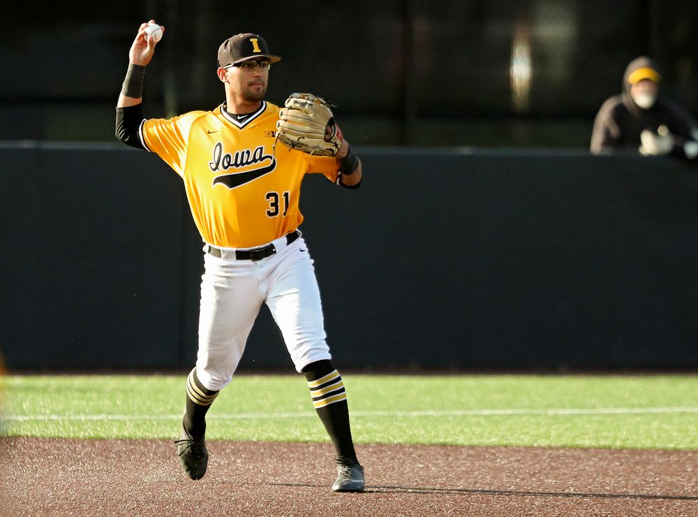 Iowa infielder Matthew Sosa (31) throws to second base for an out during the fourth inning of the first game of the Black and Gold Fall World Series at Duane Banks Field in Iowa City on Tuesday, Oct 15, 2019. (Stephen Mally/hawkeyesports.com)