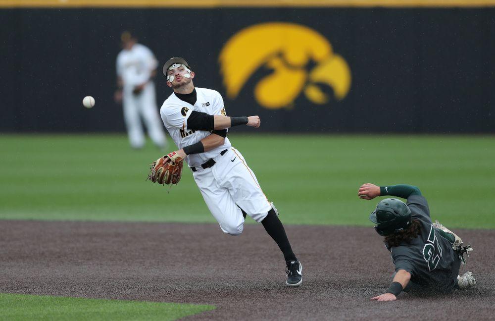 Iowa Hawkeyes infielder Mitchell Boe (4) against Michigan State Sunday, May 12, 2019 at Duane Banks Field. (Brian Ray/hawkeyesports.com)