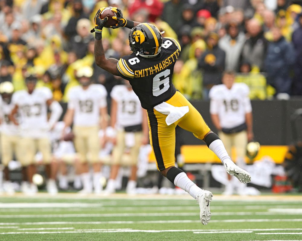 Iowa Hawkeyes wide receiver Ihmir Smith-Marsette (6) pulls in a pass during the third quarter of their game at Kinnick Stadium in Iowa City on Saturday, Oct 19, 2019. (Stephen Mally/hawkeyesports.com)