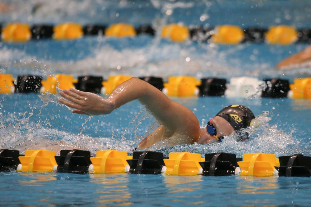 Iowa's Macy Rink swims the 200-yard freestyle during the Iowa swimming and diving meet vs Notre Dame and Illinois on Saturday, January 11, 2020 at the Campus Recreation and Wellness Center. (Lily Smith/hawkeyesports.com)