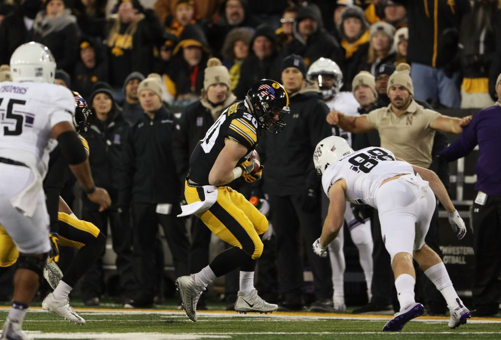 Iowa Hawkeyes defensive back Jake Gervase (30) intercepts a pass against the Northwestern Wildcats Saturday, November 10, 2018 at Kinnick Stadium. (Brian Ray/hawkeyesports.com)