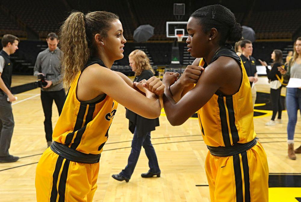 Iowa guard Gabbie Marshall (24) and guard Tomi Taiwo (1) during Iowa Women's Basketball Media Day at Carver-Hawkeye Arena in Iowa City on Thursday, Oct 24, 2019. (Stephen Mally/hawkeyesports.com)