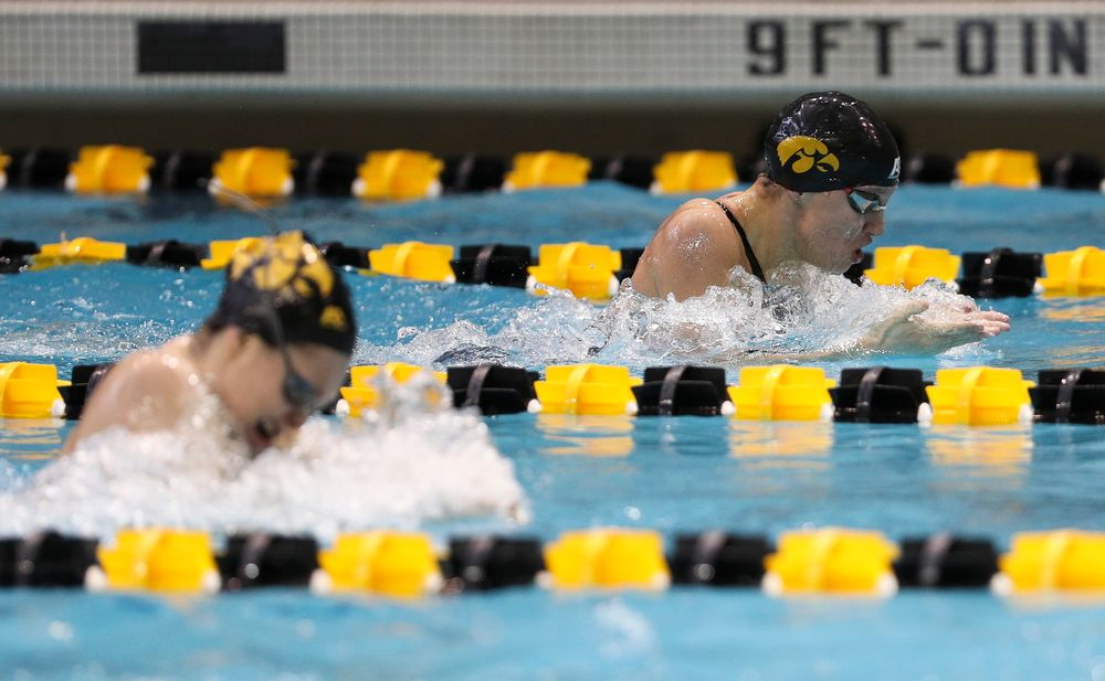 Iowa's Sage Ohelensehlen competes in the 200-yard breaststroke during the third day of the Hawkeye Invitational at the Campus Recreation and Wellness Center on November 17, 2018. (Tork Mason/hawkeyesports.com)