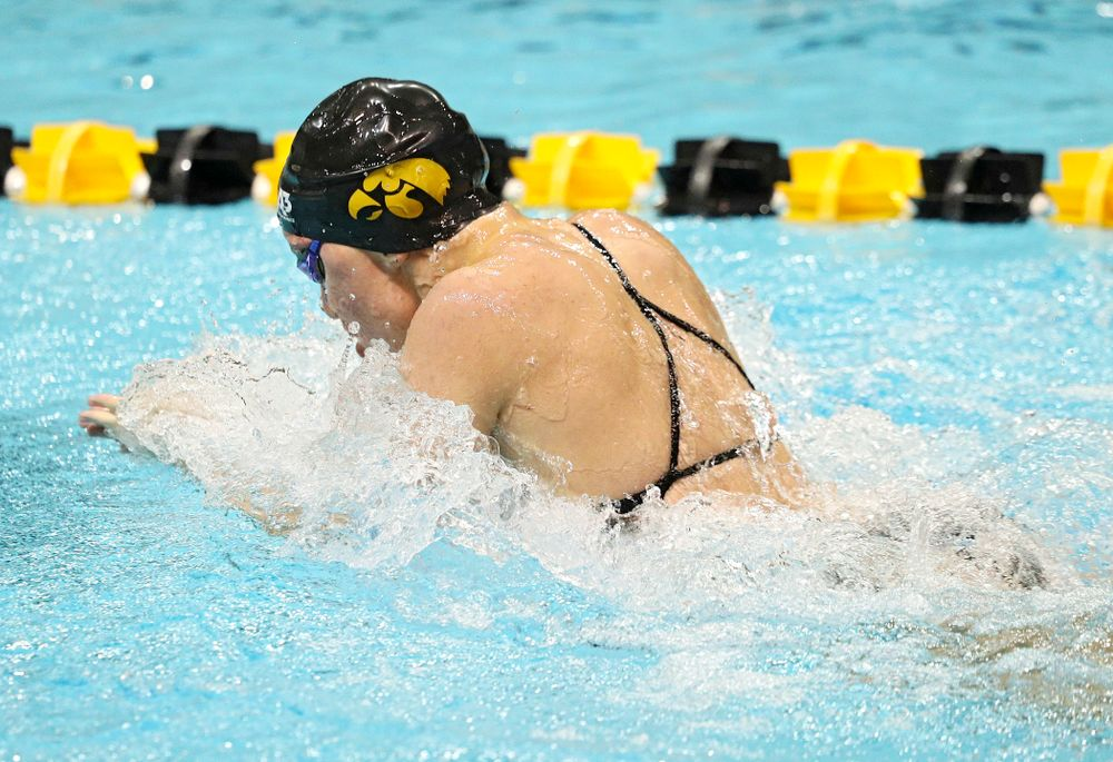 Iowa's Sage Ohlensehlen swims the women's 50-yard breaststroke event during their meet against Michigan State at the Campus Recreation and Wellness Center in Iowa City on Thursday, Oct 3, 2019. (Stephen Mally/hawkeyesports.com)