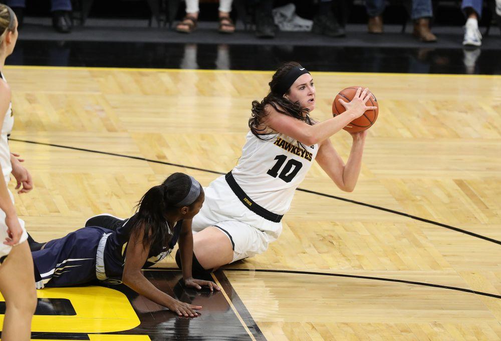 Iowa Hawkeyes forward Megan Gustafson (10) against Oral Roberts University Friday, November 9, 2018 at Carver-Hawkeye Arena. (Brian Ray/hawkeyesports.com)