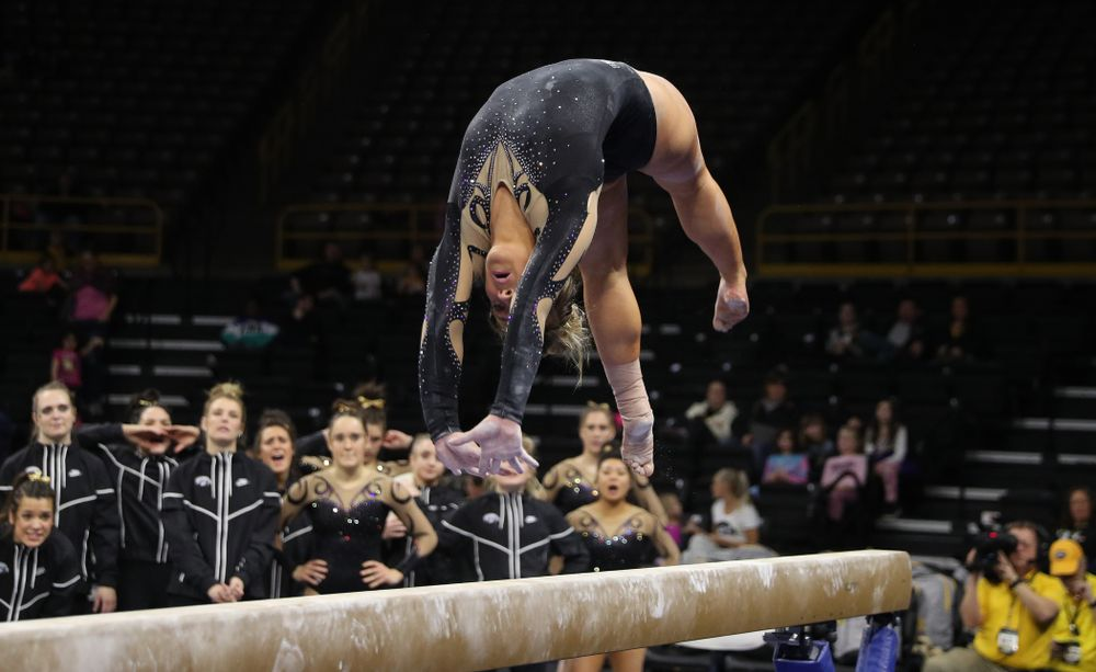 Iowa's Maddie Kampschroeder competes on the beam during their meet against Southeast Missouri State Friday, January 11, 2019 at Carver-Hawkeye Arena. (Brian Ray/hawkeyesports.com)