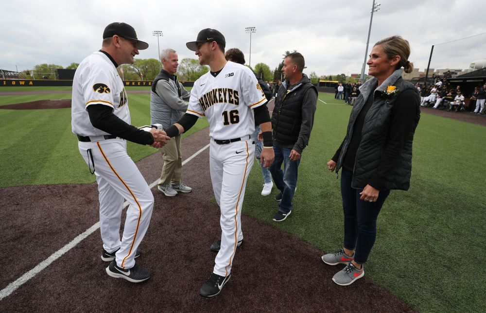 Iowa Hawkeyes Tanner Wetrich (16) during senior day festivities before their game against Michigan State Sunday, May 12, 2019 at Duane Banks Field. (Brian Ray/hawkeyesports.com)