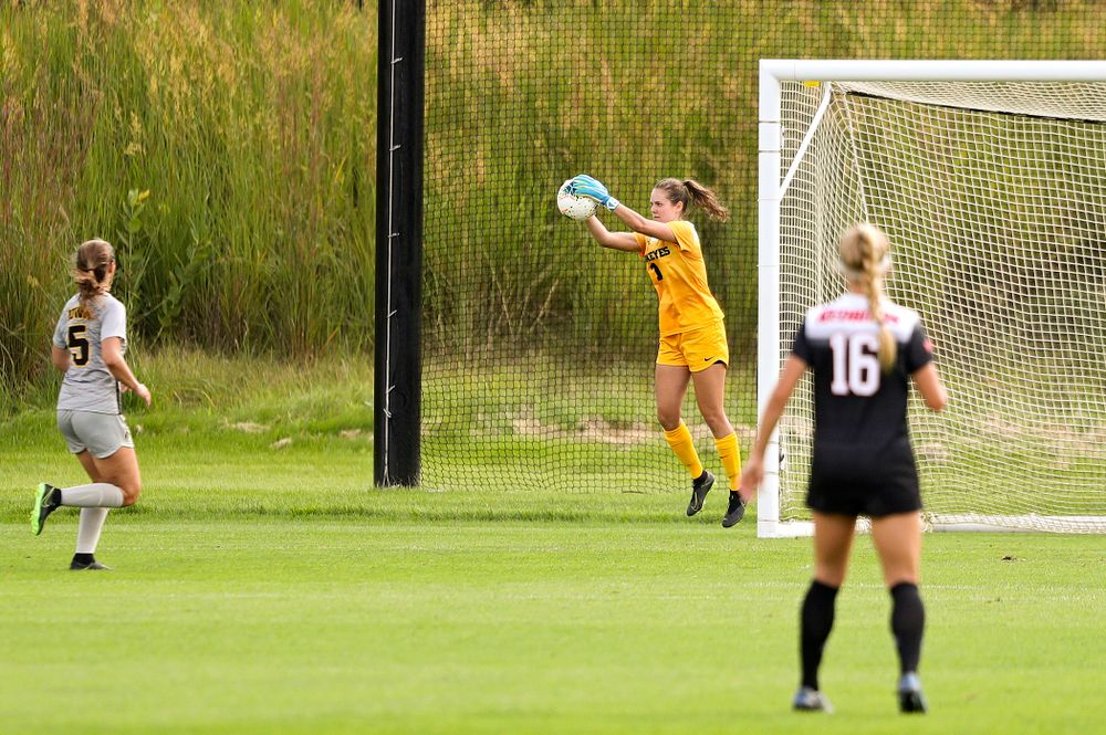Iowa goalkeeper Claire Graves (1) grabs the ball during the first half of their match at the Iowa Soccer Complex in Iowa City on Sunday, Sep 1, 2019. (Stephen Mally/hawkeyesports.com)