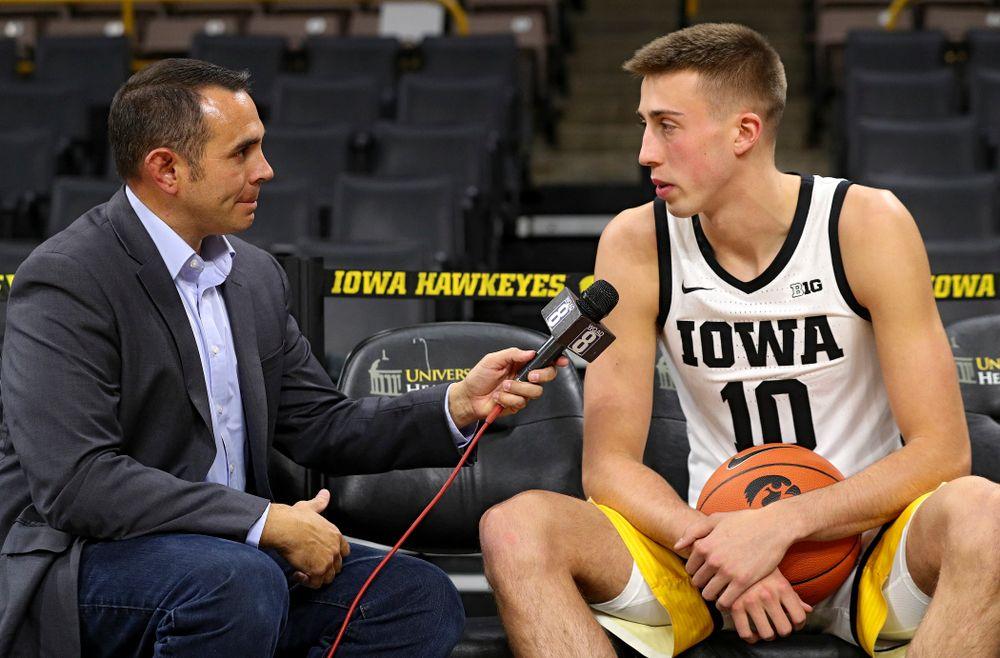 Iowa Hawkeyes guard Joe Wieskamp (10) answers questions during Iowa Men's Basketball Media Day at Carver-Hawkeye Arena in Iowa City on Wednesday, Oct 9, 2019. (Stephen Mally/hawkeyesports.com)