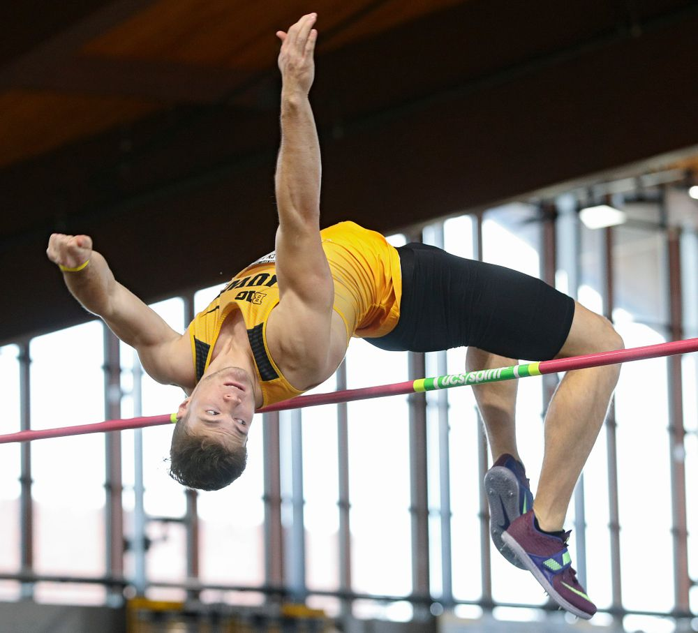 Iowa's Peyton Haack competes in the men's high jump event at the Black and Gold Invite at the Recreation Building in Iowa City on Saturday, February 1, 2020. (Stephen Mally/hawkeyesports.com)