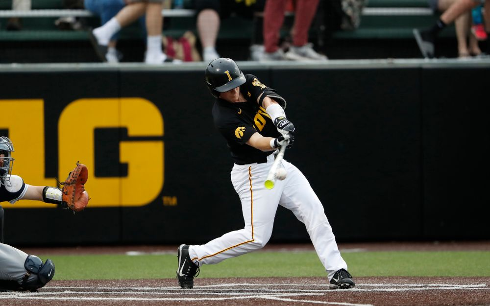 Iowa Hawkeyes catcher Tyler Cropley (5) singles to drive in a pair of runs against the Penn State Nittany Lions Friday, May 18, 2018 at Duane Banks Field. (Brian Ray/hawkeyesports.com)