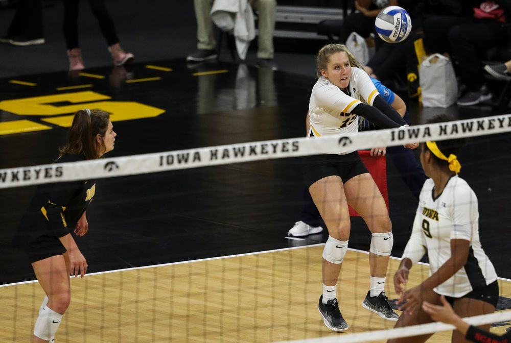 Iowa Hawkeyes defensive specialist Maddie Slagle (15) bumps the ball during a match against Rutgers at Carver-Hawkeye Arena on November 2, 2018. (Tork Mason/hawkeyesports.com)