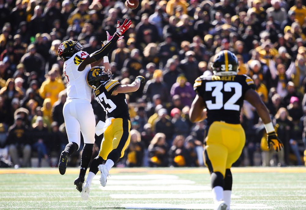 Iowa Hawkeyes defensive back Riley Moss (33) breaks up a pass during a game against Maryland at Kinnick Stadium on October 20, 2018. (Tork Mason/hawkeyesports.com)