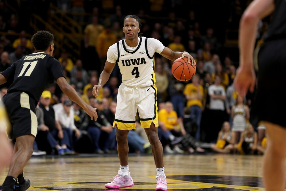 Iowa Hawkeyes guard Bakari Evelyn (4) against the Purdue Boilermakers Tuesday, March 3, 2020 at Carver-Hawkeye Arena. (Brian Ray/hawkeyesports.com)
