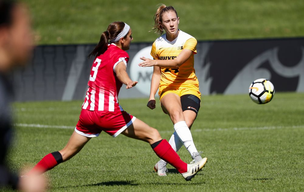 Iowa Hawkeyes defender Sara Wheaton (24) passes the ball during a game against Indiana at the Iowa Soccer Complex on September 23, 2018. (Tork Mason/hawkeyesports.com)