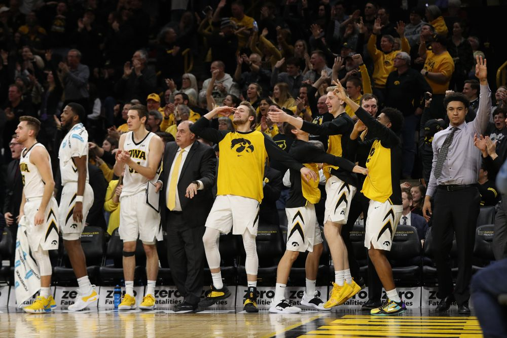 The Iowa Hawkeyes bench against the Michigan Wolverines Friday, February 1, 2019 at Carver-Hawkeye Arena. (Brian Ray/hawkeyesports.com)