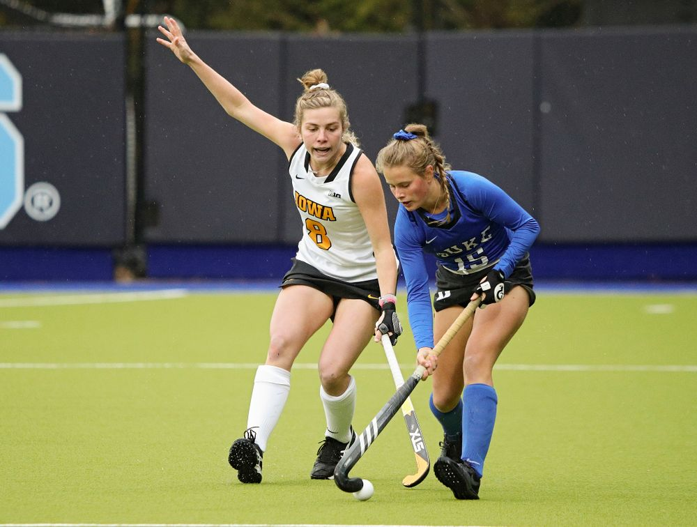 Iowa's Nikki Freeman (8) tries to knock the ball away during the first quarter of their NCAA Tournament First Round match against Duke at Karen Shelton Stadium in Chapel Hill, N.C. on Friday, Nov 15, 2019. (Stephen Mally/hawkeyesports.com)