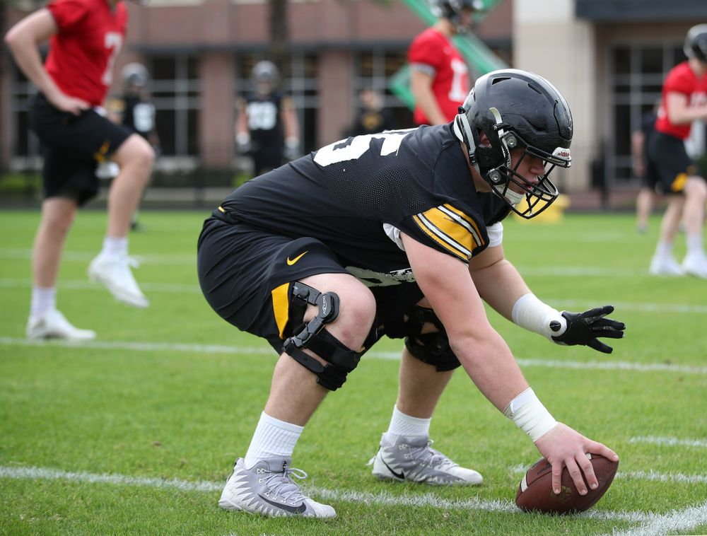 Iowa Hawkeyes offensive lineman Tyler Linderbaum (65)during the team's first Outback Bowl Practice in Florida Thursday, December 27, 2018 at Tampa University. (Brian Ray/hawkeyesports.com)