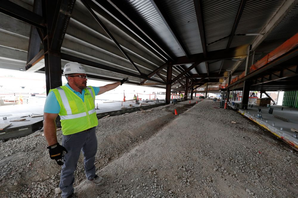 University of Iowa Senior Construction Project Manager Michael Kearns talks about the street level concourse in north end zone Wednesday, June 6, 2018 at Kinnick Stadium. (Brian Ray/hawkeyesports.com)