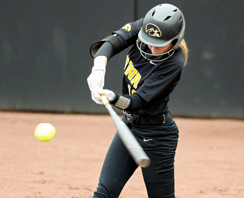 Iowa's Ashley Hamilton (18) bats during the fourth inning of their game against Iowa Softball vs Indian Hills Community College at Pearl Field in Iowa City on Sunday, Oct 6, 2019. (Stephen Mally/hawkeyesports.com)
