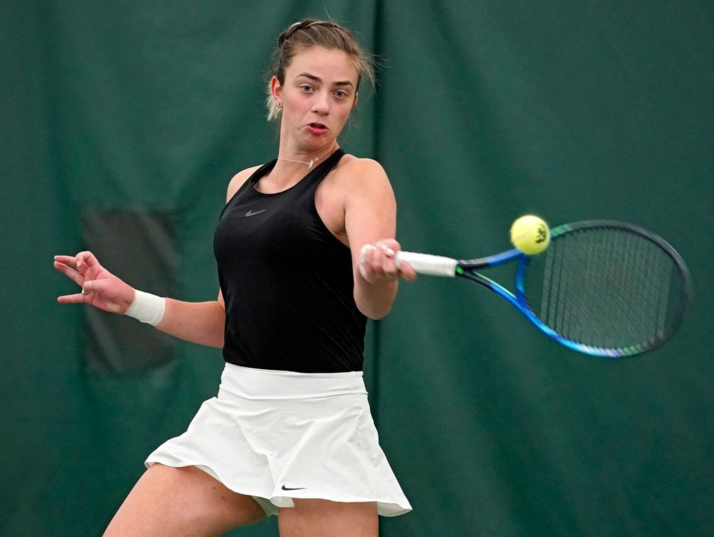 Iowa's Sophie Clark during their doubles match against Indiana at the Hawkeye Tennis and Recreation Complex in Iowa City on Sunday, Mar. 31, 2019. (Stephen Mally/hawkeyesports.com)