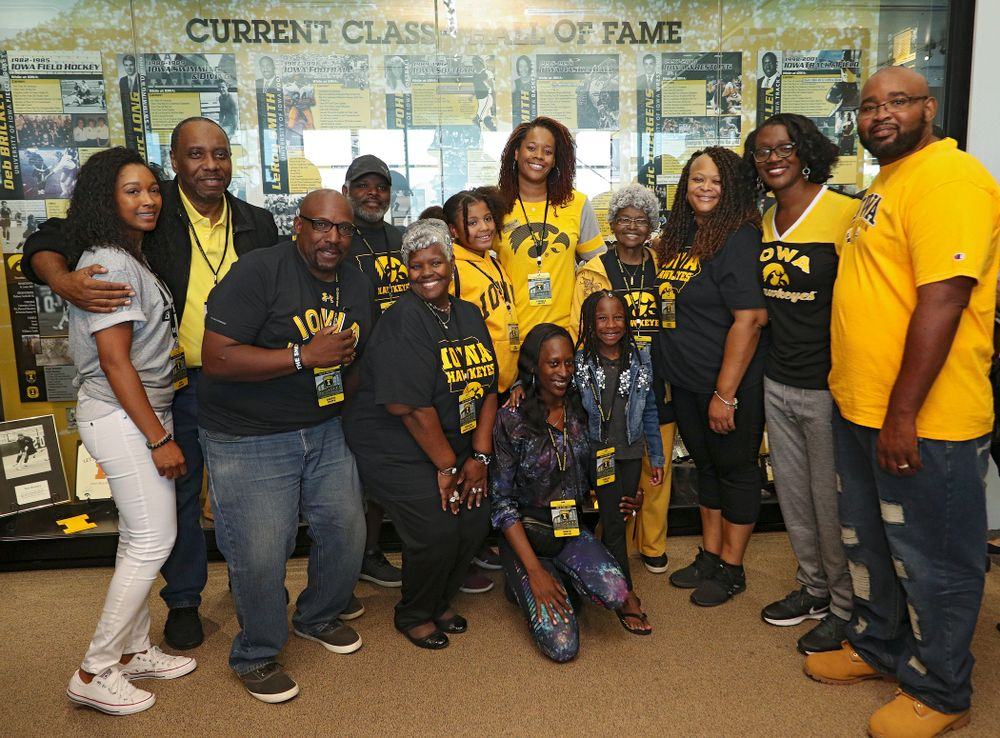 2019 University of Iowa Athletics Hall of Fame inductee Tangela Smith with her family at the University of Iowa Athletics Hall of Fame in Iowa City on Friday, Aug 30, 2019. (Stephen Mally/hawkeyesports.com)